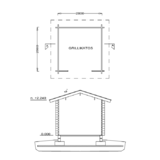 Barbecue shed floor plan and cut