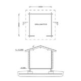 Grundriss und Schnitt des Grillhauses