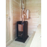 Traditional log sauna with changing room and front terrace
