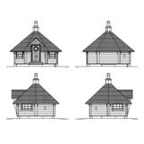 Saunahütte Rundholz 9 m2 Fassade