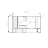Oval sauna with dressing room and front terrace floor plan
