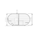 Ovale Sauna mit Ankleideraum und Terrassenschnitt