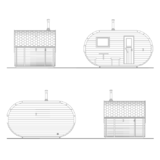 Oval sauna with dressing room and front terrace facades