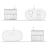 Ovale Sauna mit Ankleideraum und Terrassenfassaden