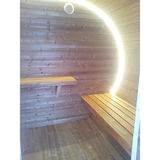 Oval sauna with dressing room and front terrace