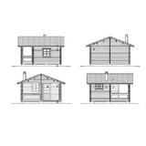 Cottage cour avec façades sauna