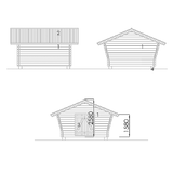 Log cabin with cracked wall 10 m2 facades