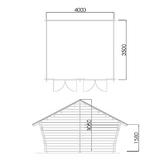 Blockscheune mit rissiger Wand 14 m2 Grundriss und Schnitt