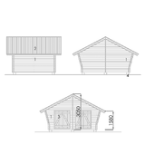 Log cabin with cracked wall 14 m2 facades