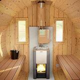 Barrel sauna on the front terrace