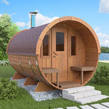 Barrel sauna with dressing room and front terrace