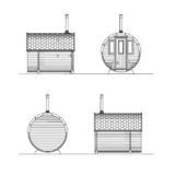 Barrel sauna on the front terrace facades