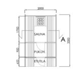 Fasssauna mit Ankleideraum und Grundriss der vorderen Terrasse