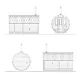 Barrel sauna with dressing room and front terrace facades