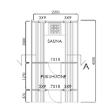 Barrel Sauna Deluxe Dressing Room and Front Terrace Floor Plan