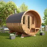 Barrel Sauna with Deluxe Dressing Room and Front Terrace