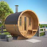 Barrel sauna Deluxe on the front terrace