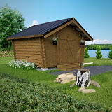 Log barn with solid wall 10 m2