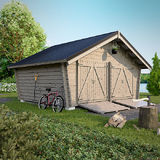 Log barn with solid wall 14 m2