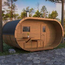 Oval bastu med omklädningsrum och terrass på framsidan