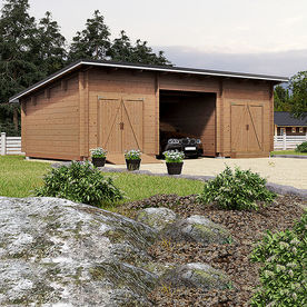Parilato with carport, closed wall