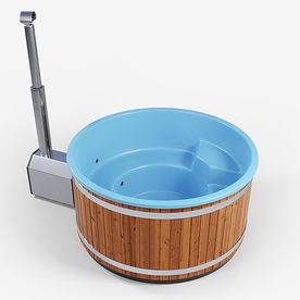 Pool color: Turquoise blue Outer lining: Deep heat treated pine