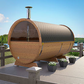 Barrel sauna DeLuxe with landscape window, dressing room and front terrace