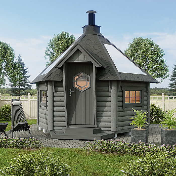 Barbecue hut Deluxe with glass roof + Extra smoking package